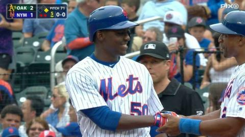 OAK@NYM: Montero picks up his first Major League hit