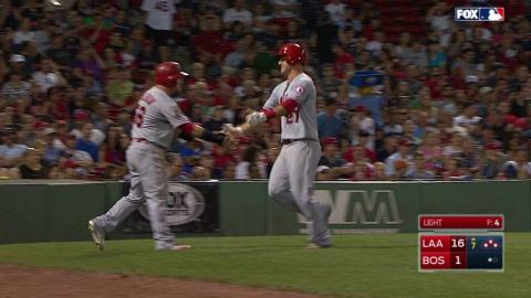 LAA@BOS: Pujols clears the bases with a double