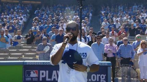 WSH@LAD Gm3: R&B singer TQ performs national anthem