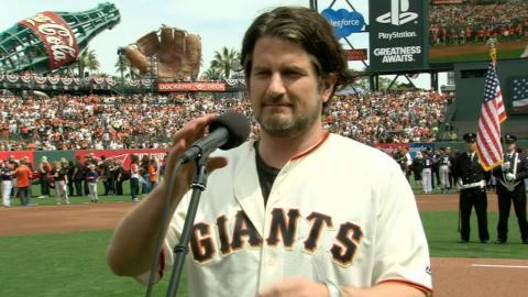 LAD@SF: Nathanson performs national anthem