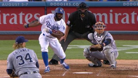 SD@LAD: Tole doubles for his first Major League hit