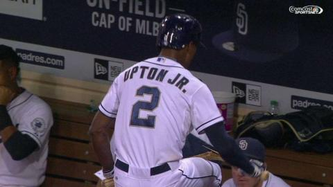 PHI@SD: Upton Jr. cracks his bat after striking out