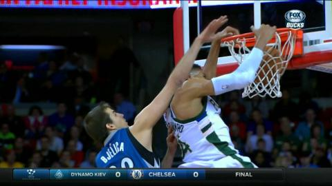 Giannis Antetokounmpo Flies in for the Ferocious Put Back
