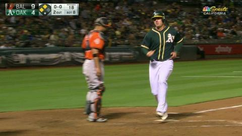 BAL@OAK: Maxwell drives in a run with a sac fly