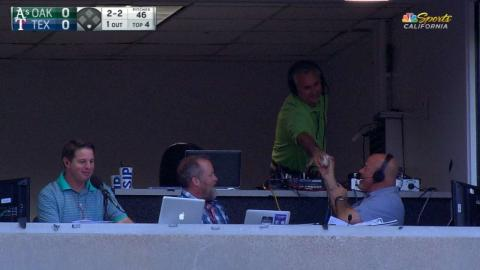 OAK@TEX: A's radio booth gives foul ball to fan