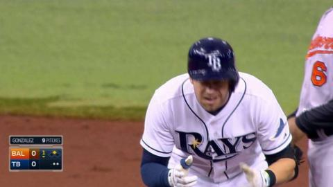 BAL@TB: Longoria rips a two-out double to left field