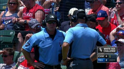 CWS@TEX: No hit-by-pitch call stands after challenge
