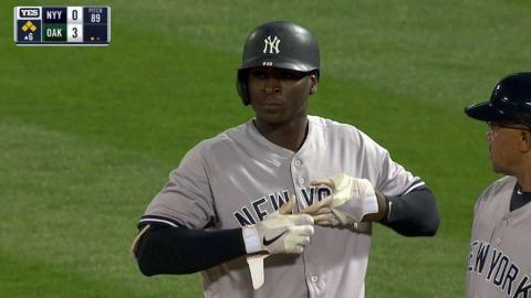 NYY@OAK: Gregorius extends his hit streak to 17 games