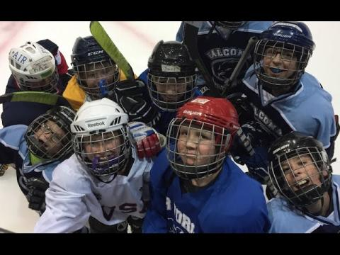 Falcons youth hockey practice with USA Hockey's Joe Bonnett