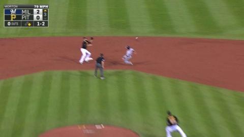 MIL@PIT: Ramirez starts a double play