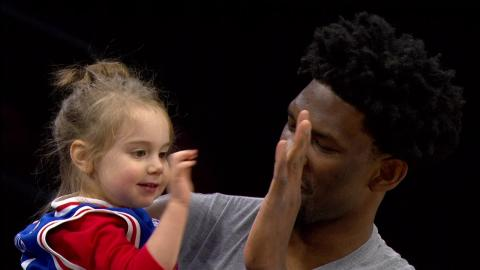 Joel Embiid Meets His Number 1 Fan, 3 Year Old Charlotte!