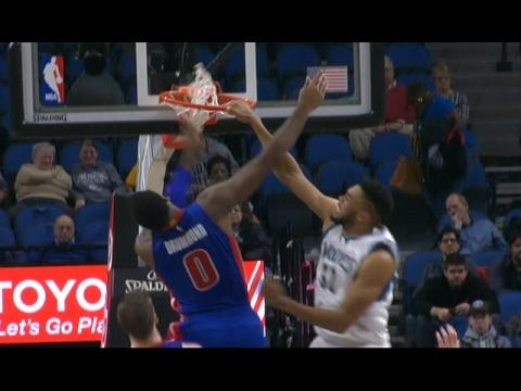 Karl Anthony-Towns Punches 1 Hand Dunk Against Detroit  | 12.09.16
