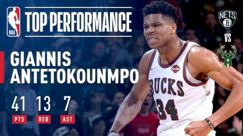 Giannis Antetokounmpo Puts Up 41 Pts In Win vs. Nets   January 26, 2018