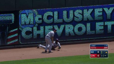 SD@CIN: Pirela makes great running catch at the wall
