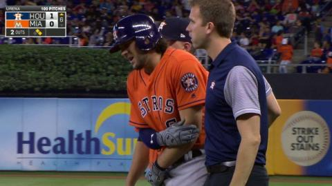 HOU@MIA: Marisnick hit by pitch, remains in game