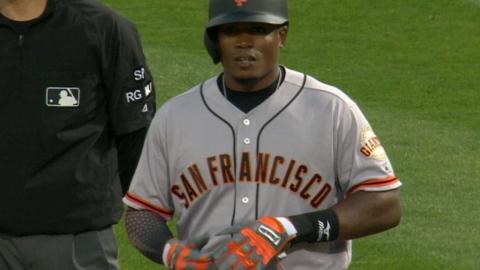 SF@OAK: Moncrief plates a run with his first MLB hit