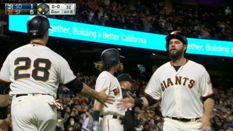 SD@SF: Giants plate five runs in the 8th inning