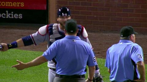 ATL@COL: Pierzynski tossed after arguing obstruction