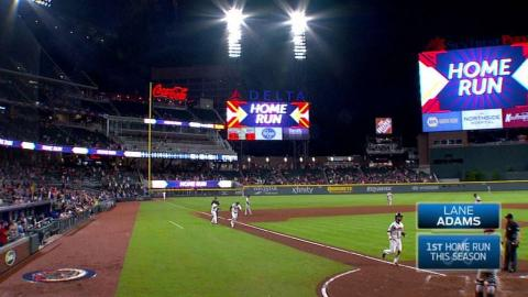 SF@ATL: Lane Adams launches his first career homer