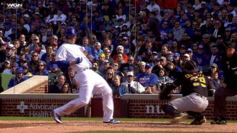 PIT@CHC: Rizzo gets hit by a pitch in the 8th