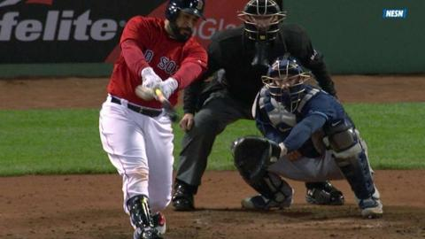 TB@BOS: Leon plates two with a ground-rule double