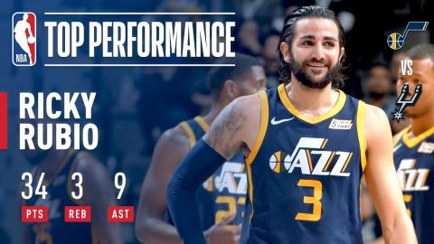 Ricky Rubio Drops 34 Points and 9 Dimes vs. the Spurs | February 3, 2018
