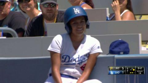 PIT@LAD: Ballgirl flashes the leather to reel in ball