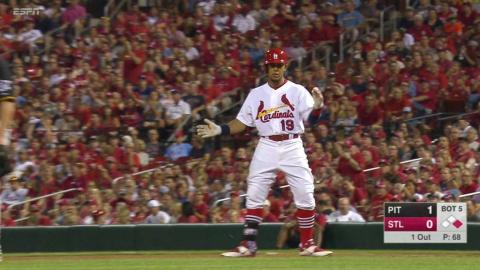 PIT@STL: Jay singles to break up no-hitter in the 5th