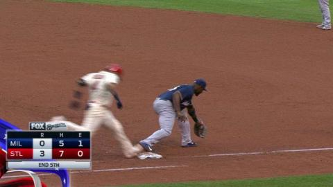 MIL@STL: Gennett begins double play, call confirmed