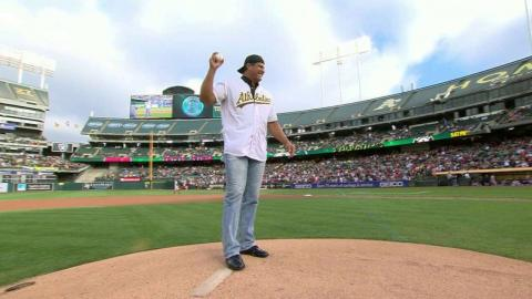 BOS@OAK: Canseco throws out the first pitch