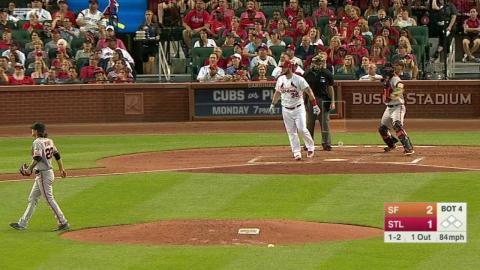 SF@STL: Adams loses his bat on a swing in the 4th