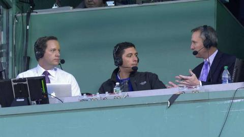 TEX@BOS: Jon Daniels joins the Rangers' broadcast