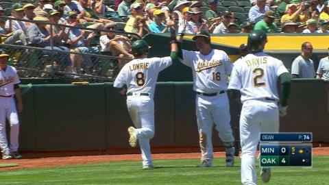 MIN@OAK: Davis gets Lowire home with a sac fly