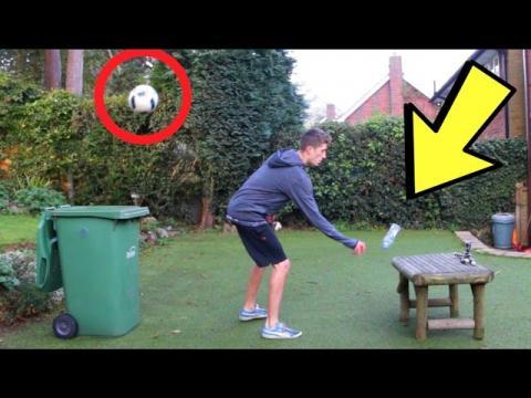 WATER BOTTLE FLIP TRICK SHOTS (Football/Soccer Edition)