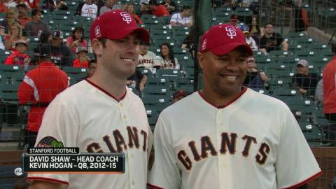 ARI@SF: Former Stanford QB Hogan throws first pitch