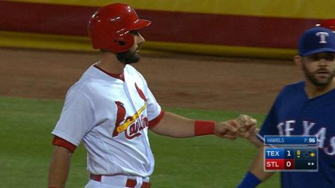 TEX@STL: Carpenter's two hits extend hitting streak