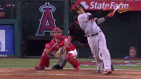 BAL@LAA: Machado hits a solo shot to left field