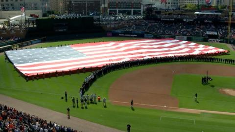 BAL@DET: Tigers hold ceremony on anniversary of 9/11
