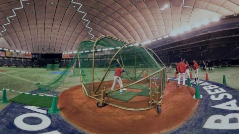 VR 360: Cespedes takes BP at Tokyo Dome