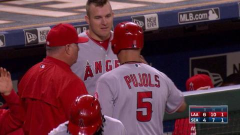 LAA@SEA: Simmons scores Pujols on a fielder's choice
