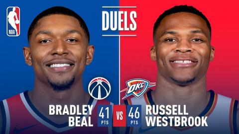 Bradley Beal and Russell Westbrook Duel in OKC | January 25, 2018