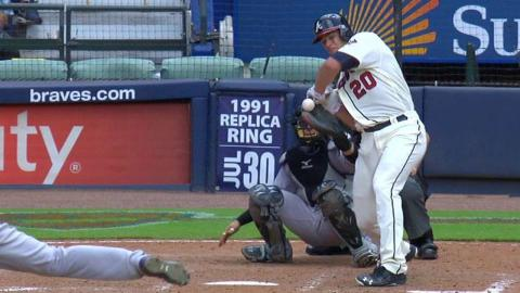 COL@ATL: Rockies challenge Recker hit-by-pitch call