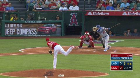 LAD@LAA: Meyer strikes out Thompson to escape a jam