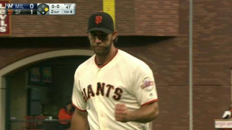 MIL@SF: Bumgarner gets Braun to hit into DP