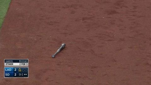LAD@SD: Ethier swings and loses the grip of his bat