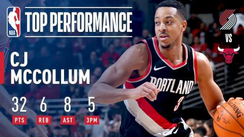 C.J. McCollum Scores 32 Pts in OT Victory Over the Bulls | January 1, 2018
