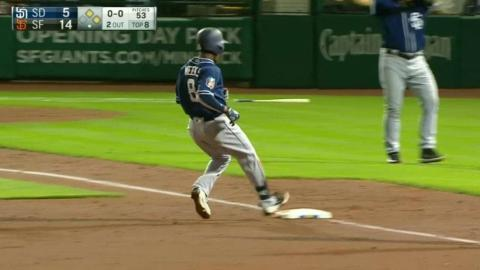 SD@SF: Weeks triples home a run in the 8th