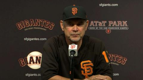 MIA@SF: Bochy on Moore, Slater after loss to Marlins