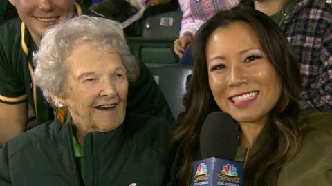 BAL@OAK: 94-year-old fan enjoys her first A's game