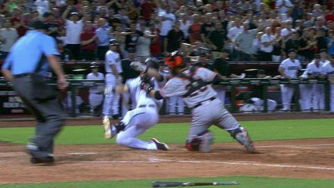SF@ARI: Relay throw gets Owings at home plate